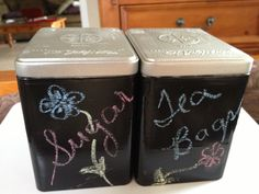 Tazo Tea cans  painted with chalkboard paint. LOVE!