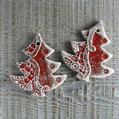 Décoration sapins de noël céramique style dentelle