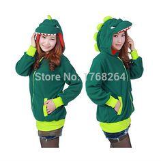 6d9718801a Animal Cute Green Dinosaur Hoody Cartoon Animal Hoodie with Ears Hooded  Hoody Coat Jacket Warm Polar