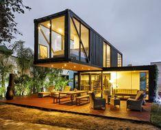 casas containers com paredes de vidro