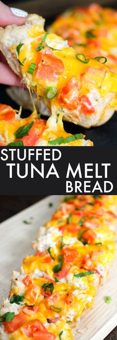 Stuffed Tuna Melt Br Stuffed Tuna Melt Bread takes the classic. Stuffed Tuna Melt Br Stuffed Tuna Melt Bread takes the classic sandwich to a new level. Creamy tuna topped with tomatoes and cheese makes for the perfect lunch or party snack! Tuna Fish Recipes, Seafood Recipes, Appetizer Recipes, New Recipes, Dinner Recipes, Cooking Recipes, Favorite Recipes, Healthy Recipes, Easy Recipes