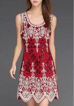 Ethnic Style Scoop Neck Abstract Print Sequined Sleeveless Dress For Women