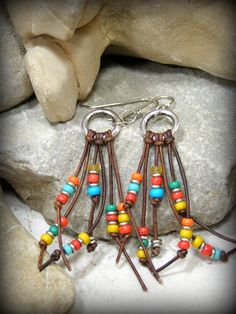 Tribal Earrings, Leather Earrings, Southwestern Earrings, Tribal Jewelry, Southwest Jewelry, Bohemian Earrings, Boho Jewelry, Beaded Earring by StoneWearDesigns on Etsy https://www.etsy.com/listing/211121916/tribal-earrings-leather-earrings