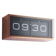 Leff Copper 24 hour flip clock 15.7 x 36cm