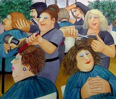 """""""Hairdressing"""" was one of the last pictures Beryl Cook painted before her untimely death in It is a wonderful example of her acute observation and circular rhythmic composition. Naive, Beryl Cook, Plus Size Art, Fat Art, English Artists, Limited Edition Prints, Girls Shopping, Cool Art, Things To Sell"""