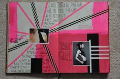 Moleskine 3  Acrylique, photo, découpure de magazine, washi, uni-ball Signo