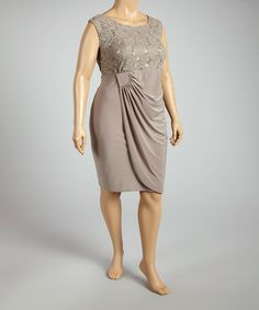 5cc23cc817d Look what I found on  zulily! Mocha Lace Gathered Sleeveless Dress - Plus by