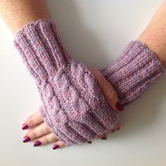 Ladies Heather Pink Cable Stitch Hand Warmers. Hand knitted in Scotland. by sewmoira on Etsy