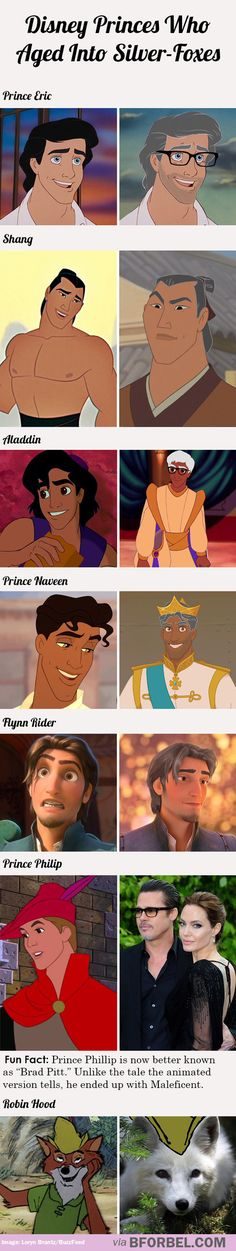 Disney Princes who aged into silver-foxes <---Robin Hood wins! Disney Pixar, Disney Princes, Disney Facts, Disney Girls, Disney And Dreamworks, Disney Animation, Disney Love, Disney Magic, Walt Disney