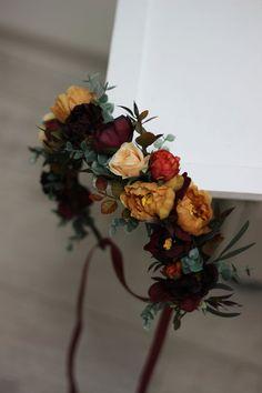 Burgundy burnt orange floral crown Rust floral wreath Wedding headpiece Burgundy bridal hairpiece Bridesmaid crown Maternity crown- MUSTARD - All For Hair Color Trending Red Wedding Flowers, Flower Crown Wedding, Bridal Flowers, Wedding Colors, Wedding Bouquets, Wedding Crowns, Wedding Ideas, Geek Wedding, Wedding Themes
