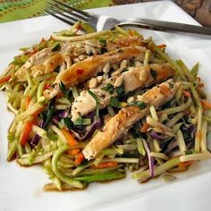 Asian Chicken Broccoli Slaw.  (use the pre cooked and cubed chicken to make it super easy...we always add more veggies than required. super good in a pita too!