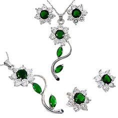 Zirkonia 18K Weissgold Vergoldet Rundschliff Gruen Smarag…