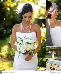 Great Gatsby Weddings - birdcage veil and pearls. Dramatic makeup.