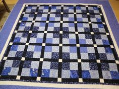 Navy, blue and white quilt