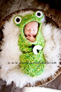 I have got to have one of these when the baby comes.. sooo cute    custom made newborn FROG cocoon  includes free by knottybabywear, $55.00