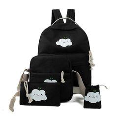 Women Backpack Four-piece Fitted Rucksack Bags Fashion Clouds Schoolbags Shoulder Bag Shoulder Bag Clutch mochila feminina #25