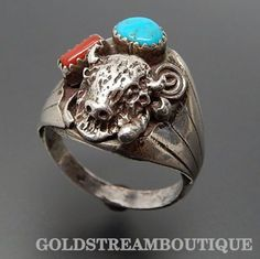 NATIVE AMERICAN GRACE SMITH NAVAJO 925 SILVER CORAL TURQUOISE BUFFALO HEAD MEN'S RING SIZE 10.75