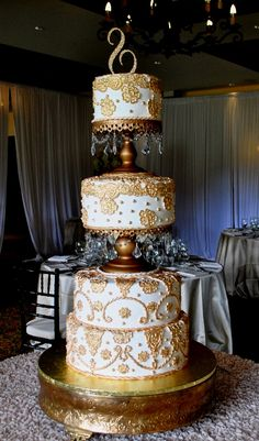 Gold -Lace - Crystals-4 tier wedding cake-The Cake Zone, www.thecakezone.com