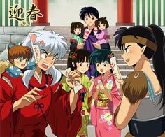 Inuyasha, Shippo, Kouga, Kagome, Sango, Miroku and their twin daughters.