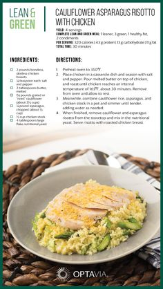 Cauliflower Asparagus Risotto with Chicken Healthy dinner recipes, healthy snac. Clean Eating Recipes, Healthy Dinner Recipes, Healthy Snacks, Healthy Eating, Eating Clean, Spinach Manicotti, Cauliflower Risotto, Chicken Risotto, Risotto