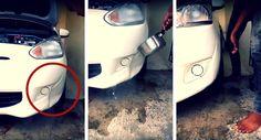 Han häller kokande vatten på bucklan han fått på bilen. Det som händer sen? Otroligt!