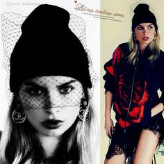 Wholesale-European Style Catwalk Supermodel Street Beat Colorful Woolen Caps  With Veil Winter Fashion Hat For Women And Men 2018 from fashionkiss f100e360e7a8