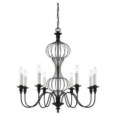 Chandelier in forged black with an openwork design and turned detailing.   I LOVE THIS