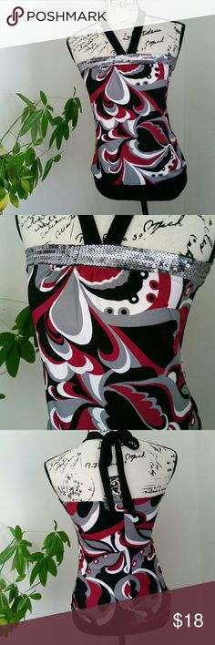 Vanity Dressy Halter Top Size S EUC Pretty black, burgundy, white and silver sequined halter top. Banded at bottom. Excellent condition. Vanity brand. Size S. Vanity Tops
