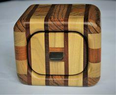 Exotic wood strip bandsaw trinket box. (Rounded) £80.00 Bandsaw Box, Small Drawers, Black Felt, Trinket Boxes, Wood Crafts, Exotic, Beams, Black Fedora, Woodworking Crafts