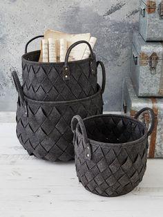 Dark Grey Woven Basket Set