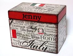 Recipe Box  Italy  4x6 inch wood recipe card by KelleysPaperCrafts, $35.00
