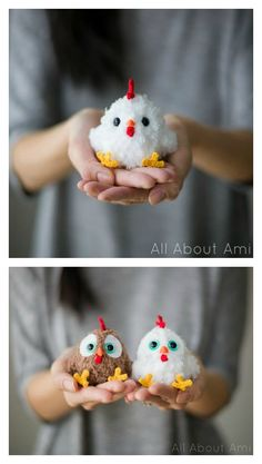 Crochet Amigurumi Patterns Crochet Rooster Amigurumi Free Pattern - 2017 is the Year of the Rooster. We've compiled a few Rooster Crochet Amigurumi Patterns for you to have some yarn hooking fun with roosters. Easter Crochet Patterns, Crochet Birds, Pom Pom Crafts, Yarn Crafts, Crochet Patterns Amigurumi, Crochet Dolls, Diy Pompon, Chicken Pattern, Crochet Chicken