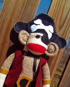 Sock Monkey Doll Pirate by MonkeyBizz on Etsy, $64.50