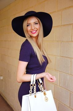 My Sister's Wardrobe part one - navy hat, dress, white Michael Kors handbag and gold lettering necklace   Extraordinary Days