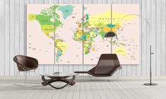 Large World Map Canvas Wall Art / Classic Map by CanvasFactoryCo