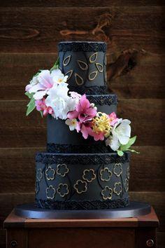 Black wedding cake - Cake by beth Gorgeous Cakes, Pretty Cakes, Amazing Cakes, Black Wedding Cakes, Themed Wedding Cakes, Fondant Cake Designs, Fondant Cakes, Cupcakes, Cupcake Cakes