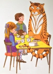 The Tiger Who Came to Tea - This is a unique silkscreen edition, published by Illustration cupboard Gallery and produced with Judith Kerr, to celebrate her birthday. Date of publication: Book author: Judith Kerr Tiger Illustration, Beatrix Potter, Museum Of Childhood, Dreamy Photography, Vintage Children's Books, Children's Literature, Childrens Books, Illustrators, Book Art