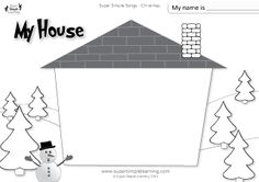 """Santa, Where Are You?"" My House Christmas Worksheet from Super Simple Learning #preK #kindergarten #ESL"