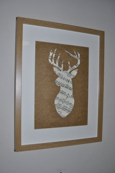 Handcrafted Sheet Music Silhouette Deer Head Stag In by TileFrame, Music Notes Music Paper, Paper Art, Christmas In July, Christmas Diy, Framed Sheet Music, Picture Wall, Picture Frames, Music Silhouette, Scottish Decor
