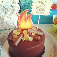 campfire cake with rock candy and twix