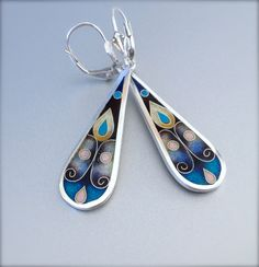 Flores cloisonne enamel earrings by agoraart on Etsy