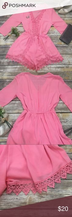 🌸Illa Illa 🌸Pink Deep V Romper with Lace Accents mediun- unique and elegant Romper for summer. Super flattering and girly. Fabric is soft and comfortable. Silky inner lining acts as a slip to prevent cling. deep v neck with button and lace embellishments.  3/4 sleeve Lined so not see through  Cinched waist  OFFERS WELCOME OR BUNDLE FOR PRIVATE DISCOUNT Illa Illa Pants Jumpsuits & Rompers