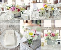 wood boxes, birch wrapped vases, pink, yellow and white flowers on vintage lace table cloths designed and provided by Petal Pushers:: Vista West Ranch:: Forever Photography