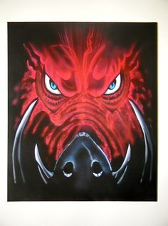 Airbrushed Razorback on Canvas 20 x 24 by AllThingsAirbrushed