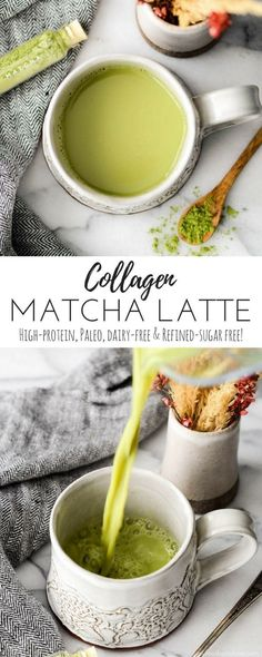 This Collagen Matcha Latte Recipe is made with only 4 ingredients in 3 minutes! … This Collagen Matcha Latte Recipe is made with only 4 ingredients in 3 minutes! It's dairy-free, refined sugar free & paleo! Plus it's low calorie and high protein! Healthy Smoothies, Healthy Drinks, Smoothie Recipes, Superfood Recipes, Vitamix Recipes, Health Recipes, Matcha Latte Recipe, Collagen Drink, Matcha Collagen
