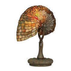 Dale Tiffany 19.5 in. Red Nautilus Antique Bronze/Verde Table Lamp-TT90434 - The Home Depot