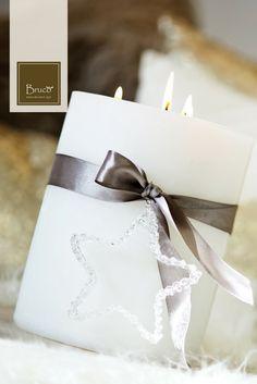 Candela decorata con fiocco #brucostyle #italianstyle #candela