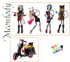 Meowlody Monster High Dolls (from left): Signature, Fearleading Squad, Zombie Shake and Wheelin' Werecats with scooter. Not shown is her Ghouls' Getaway doll, which was her first release as a single doll without Purrsephone.