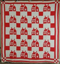 78in x 82in CLASSIC Vintage 30's Red & White Schoolhouse 9-Patch