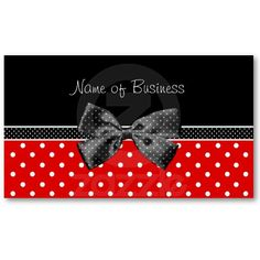 Thank you to customer in Biel, Switzerland for purchasing these Trendy Black And Red Polka Dots With Ribbon Business Cards